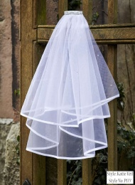Girls Two Tier Diamante Veil - Katie P177 by Peridot