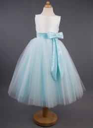 Girls Sequin Bow Tulle Dress - Kayla by Busy B's Bridals