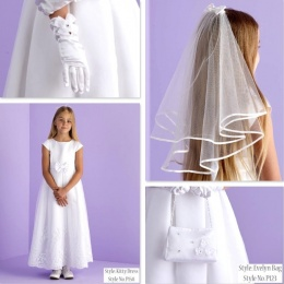 Kitty White Communion Dress, Bag, Gloves & Veil - Peridot
