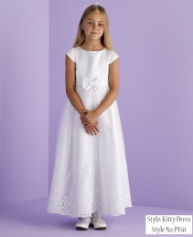 White Embroidered Holy Communion Dress - Kitty P141 by Peridot