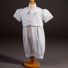 Baby Boys Millie Grace 'Kyle' Linen Look Cotton Christening Romper