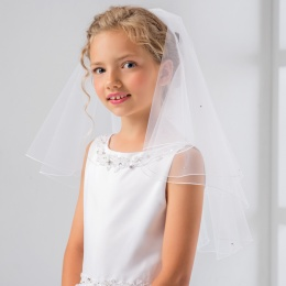Girls Crystal Pencil Edge Communion Veil by Lacey Bell Style PV81