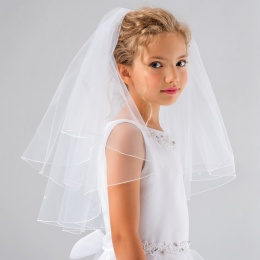 Girls Bead Pencil Edge Communion Veil by Lacey Bell Style PV82