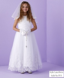 White Guipure Motif Holy Communion Dress - Lara P173 by Peridot