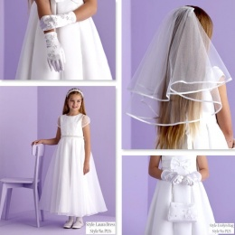 Laura White Communion Dress, Bag, Gloves & Veil - Peridot