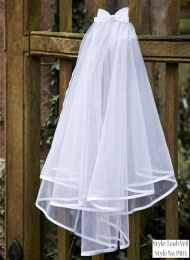 Girls White Two Tier Organza Bow Veil - Leah P103 by Peridot