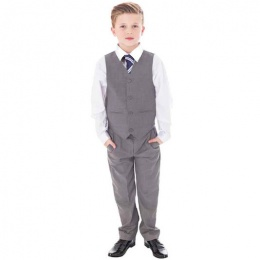 Boys Light Grey 4 Piece Trouser Suit with Tie