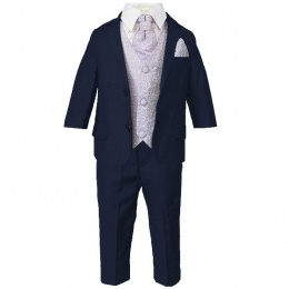 Boys Navy & Lilac Swirl 6 Piece Slim Fit Suit