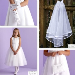 Lilly White Communion Dress, Bag, Gloves & Veil - Peridot