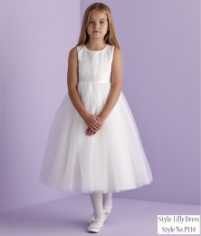 White Beaded Tutu Holy Communion Dress - Lilly P134 by Peridot