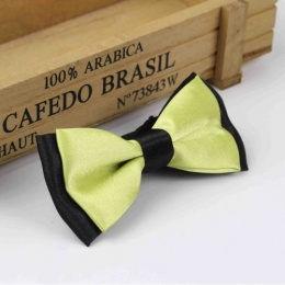 Boys Black & Lime Green Satin Bow Tie with Adjustable Strap