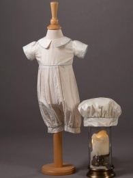 Baby Boys Silk Romper & Hat - Louie by Millie Grace