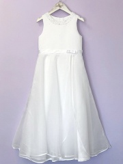 White Beaded Organza Communion Dress - Lucille P195 by Peridot