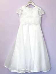 White Beaded Communion Dress & Short Bolero - Lucille & Aimee by Peridot
