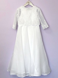 White Beaded Communion Dress & Long Bolero - Lucille & Mary by Peridot