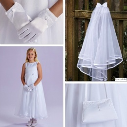 Lucille White Communion Dress, Bag, Gloves & Veil - Peridot