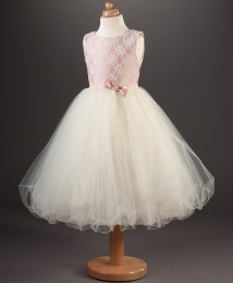 Girls Diamante Bow & Lace Dress - Lucinda by Busy B's Bridals