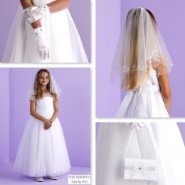 Lydia White Communion Dress, Bag, Gloves & Veil - Peridot