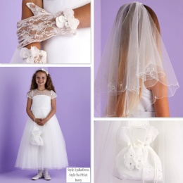 Lydia Ivory Communion Dress, Bag, Gloves & Veil - Peridot