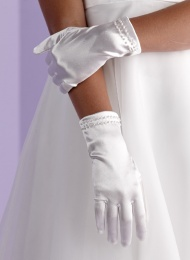 Girls White Pearl Trim Communion Gloves - Madison P117 by Peridot