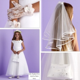 Meghan Ivory Communion Dress, Bag, Gloves & Veil - Peridot
