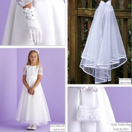 Melissa White Communion Dress, Bag, Gloves & Veil - Peridot