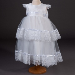 Girls Millie Grace Melody Tiered Lace Christening Dress