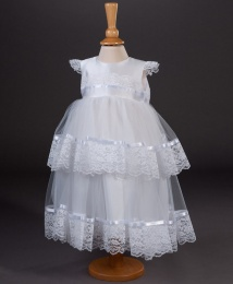 Girls Tiered Lace Christening Dress - Melody by Millie Grace