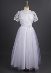 Millie Grace 'Cashmere' White Tulle Communion Dress & Lace Bolero