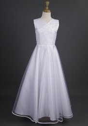 Millie Grace 'Catherine' White Crossover Communion Dress