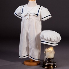 Baby Boys Millie Grace Charley Cotton Christening Romper & Hat