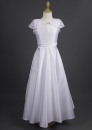 Millie Grace 'Chloe' White Satin Communion Dress with Lace Cape