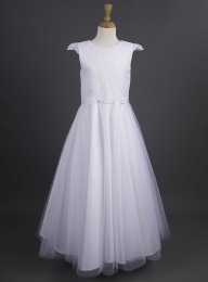 Millie Grace 'Claire' White Lace Satin Tulle Communion Dress