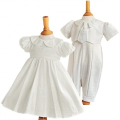 Twins Ivory Christening Dress & Romper - Elizabeth & George by Millie Grace