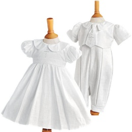 Twins White Christening Dress & Romper - Elizabeth & George by Millie Grace