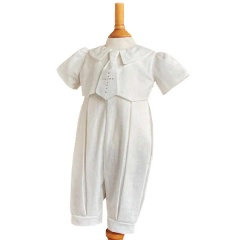 2852aad2a Exclusive Millie Grace 'George' Ivory Christening Romper with Cross Tie