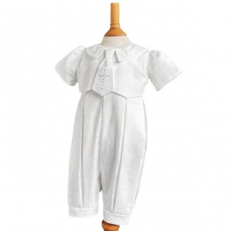 Baby Boys White Christening Romper with Cross Tie - George by Millie Grace