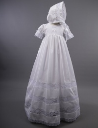 Baby Girls Millie Grace 'Grace' Cotton & Lace Christening Gown & Bonnet