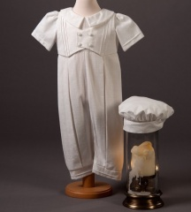 Baby Boys Millie Grace Jude Cotton Christening Romper & Hat