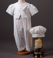 Baby Boys Millie Grace Kelvin Cotton Christening Romper & Hat