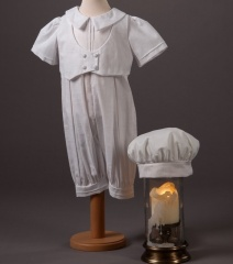 Baby Boys Millie Grace Kyle Cotton Christening Romper & Hat