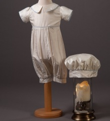Baby Boys Millie Grace Louie Silk Christening Romper & Hat
