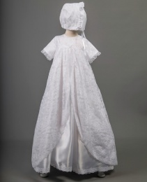Debbie by Millie Grace - Baby Girls Lace & Satin Long Gown & Bonnet