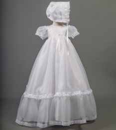 Lucy by Millie Grace - Baby Girls Long Organza Gown & Bonnet