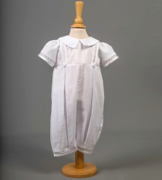 Baby Boys White Cotton Christening Romper - Oliver by Millie Grace