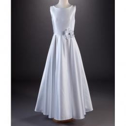 Millie Grace 'Coco' White A Line Satin Communion Dress