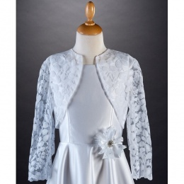 Millie Grace White Lace Long Sleeved Bolero