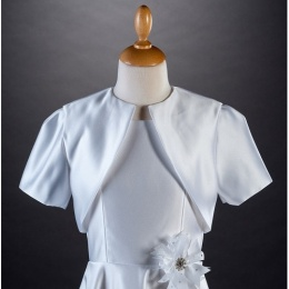 Millie Grace White Satin Short Sleeved Bolero Jacket