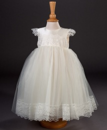 Girls Lace & Organza Christening Dress - Minnie by Millie Grace