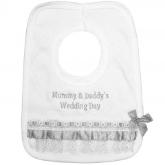Mummy & Daddy's Wedding Day White with Silver Bib